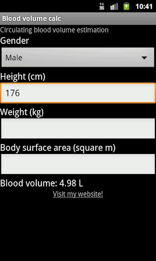 Blood volume calc