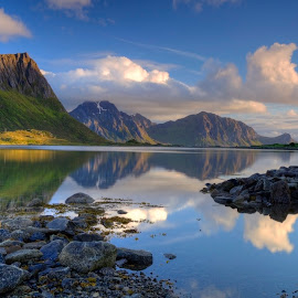 The Midnight Sun by Sandy Sutherland - Landscapes Sunsets & Sunrises ( shore, midnight, sea, ocean, landscape, norway )