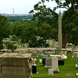 Arlington National Cemetery with Washington Monument in background by Tyrell Heaton - Instagram & Mobile iPhone ( washington monument, arlington cemetery )