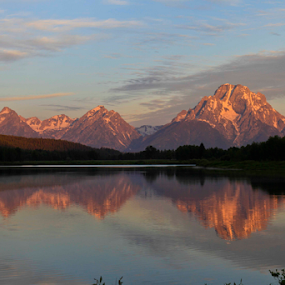Grand Teton's From Oxbow Bend by Gerard Pascazio - Landscapes Mountains & Hills ( oxbow bend, sunrise, mt moran, grand teton )