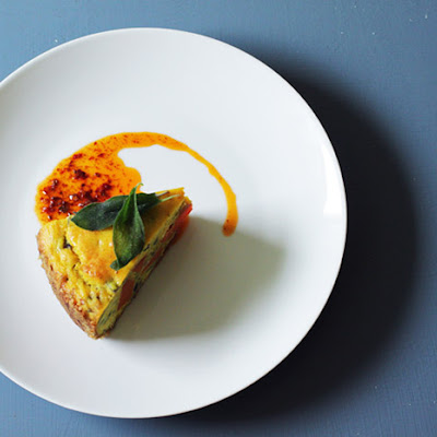 Walnut Crusted Savory Cake with Garnet Yams, Stilton, and Sage