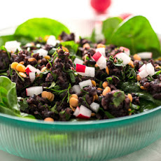 Middle Eastern Black Rice and Lentil Salad on a Bed of Spinach