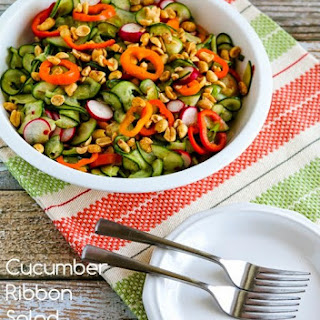 Cucumber Ribbon Salad with Peppers, Radishes, and Thai Dressing