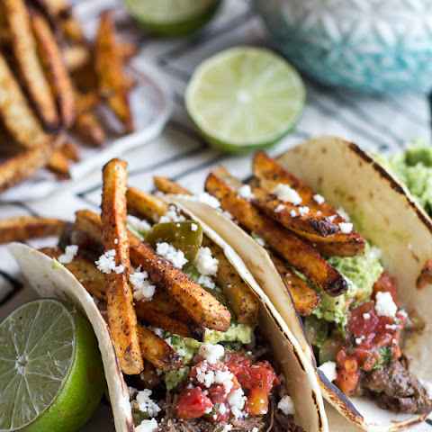 Loaded Crockpot Carne Asada Tacos.