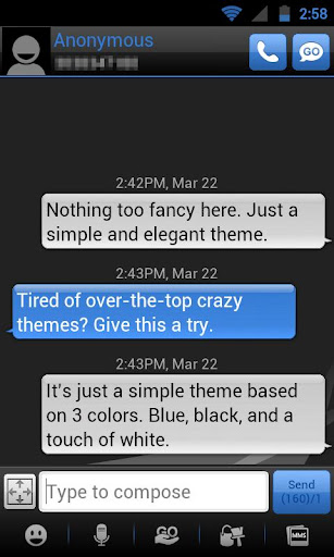 GO SMS THEME - Smooth DeepBlue