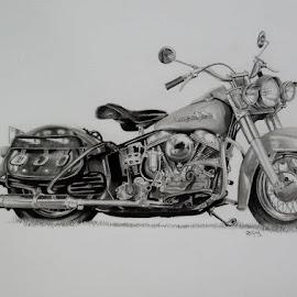 1955 Panhead Harley Davidson by Sherri Reyna - Drawing All Drawing ( harley davidson, harley, pencil, graphite, bike, art, motorcycle, classic, drawing )