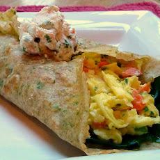 Smoked Salmon and Cream Cheese Scramble Tucked in an Herb Crepe Blanket for Ina