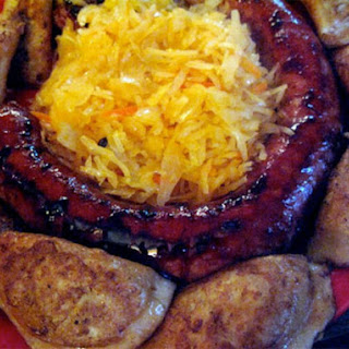Biala Kielbasa with Pierogi and Sauerkraut