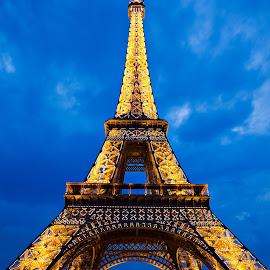 Eiffel Tower Twilight by Nicolas Raymond - Buildings & Architecture Public & Historical ( vertical, travel, yellow, architecture, french, glow, long, capital, attraction, historic, city, lamps, sky, iconic, wonder, black, orange, structure, twilight, white, symmetric, tourism, somadjinn, landmark, touristic, european, symmetry, exposure, famous, europe, eiffel, beauty, pretty, iron, paris, symmetrical, nicolas raymond, france, monument, evening, lit, icon, building, editorial, beautiful, urban, tower, blue, parisian, night, historical, glowing )
