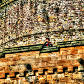 Edinburgh Castle - Lone Piper by Peter Keast - Buildings & Architecture Architectural Detail ( stonework, building, edinburgh, castle, piper )