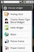 Screenshot of Charlie Sheen Widget!