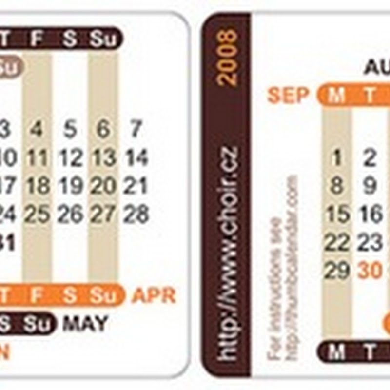 Print portable thumb calendars for your wallet