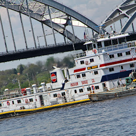 Barging My Way Through by Stephen Burroughs - Transportation Boats ( davenport, iowa, ia, illinois, barge, centennial bridge, il, bridge, boat, rock island, river )