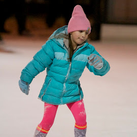skating girl by Delei Zheng - Sports & Fitness Fitness ( girl child, orange, blue, white, pink )