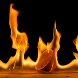 Orange on fire by Sander Vanhee - Abstract Fire & Fireworks ( orange, wood, burning, fire, flame )