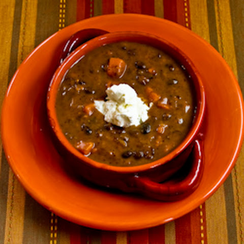 Vegetarian Black Bean and Sweet Potato Soup with Lime