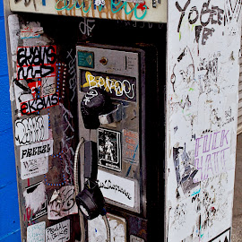 DEATH OF THE PAYPHONE by Bill (THECREOS) Davis - City,  Street & Park  Street Scenes ( broken, old, phone, 6th street, thecreos, dead, tagged, pay phone, san francisco, city )
