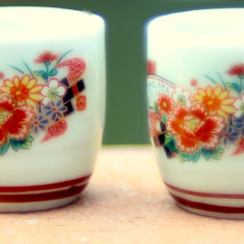 floral tea cups by William Lanza - Artistic Objects Cups, Plates & Utensils ( cups, colors, japanese, tea, miniature )