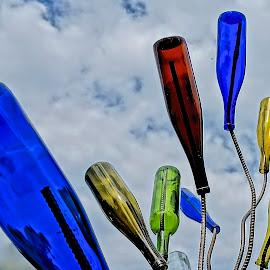 Wine Is Gone by Barbara Brock - Artistic Objects Glass ( beautiful glass, empty wine bottles, empty bottles, wine bottles, colored glass )