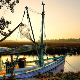 Good Morning Lucy by Jim Howton - Transportation Boats ( lucy, sunrise, boat, bayou, mississippi )