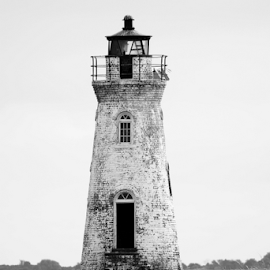 Cockspur Island Lighthouse by Jill Beim - Buildings & Architecture Public & Historical ( cockspur island, fort pulaski, black and white, lighthouse, historical,  )