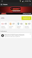 Screenshot of Giant Express Rewards