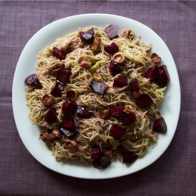 Beet Green and Radish Green Pesto Pasta with Roasted Beets and Radishes