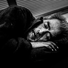 Sleeping Man by Kurt K Gledhill - Black & White Portraits & People ( okayama, japan, street, candid, portrait )