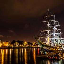Boat at Night by Darko Maretić - Transportation Boats ( colorful, night, citiy, boat, light, river )