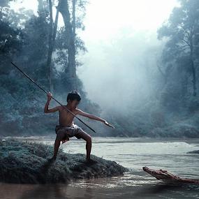 jungle boy by Budi Cc-line - Digital Art People ( hunter, crocodile, forest, tarzan )