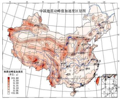 中国地震动加速度区划图(1999年)