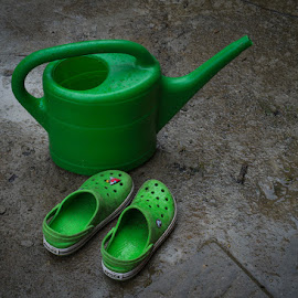 Rained Off by Dan Horton-Szar ARPS - Artistic Objects Clothing & Accessories ( watering, shoes, home, crocs, mud, can, green, gardening, wet, objects, garden, rain )