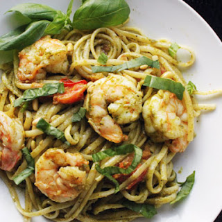 Skillet Pesto Pasta with Shrimp and Pine Nuts