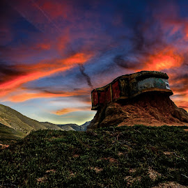 Devil's Slide by Nate Eckler - Landscapes Deserts ( mountains, wwii, rock formations, bunker, california, sunset, san francisco, california coast )