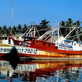 Don Barcos by Richard Brendel - Transportation Boats ( reflection, red, shrimp boats, guatemala, richard brendel,  )