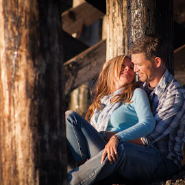 D+T by Maryann Burrows - People Couples ( canon, canada, wood, zoom lens, people, portrait, couples, color image, woman, outdoors, esquimalt lagoon, victoria, bridge, man, outside, british columbia )