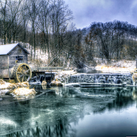 Hyde's Mill-Winter by John Larson - Buildings & Architecture Public & Historical ( water, clouds, mill, ice, snow, trees )