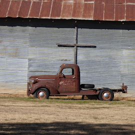 cross truck by Nita Andrews - Transportation Automobiles ( building, truck, wheels, tin, shade, cross )