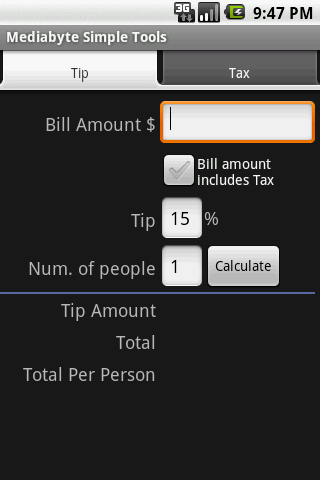 Tip Calculator Item Calc