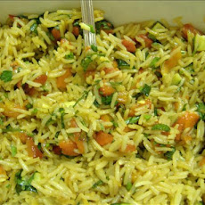 Basmati Rice Pilaf With Zucchini, Roasted Red Peppers & Par