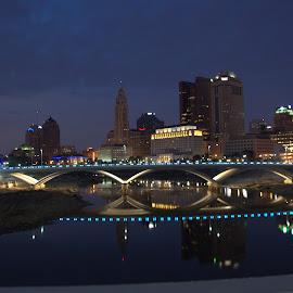 Columbus Skyline by Terri Hawk - City,  Street & Park  Skylines ( lights, skyline, columbus, ohio, night, bridge )