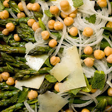 Asparagus with Sweet Onions, Garbanzo Beans, and Mint