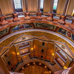 Looking Down by Dave Clark - Buildings & Architecture Public & Historical ( hdr, rotunda, dome, view, kansas )