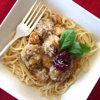 Turkey Meatballs with Butternut and Cranberry Cream Sauce