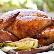 Asian Rotisserie Chicken with Caramelized Bok Choy and Eggplant Recipe