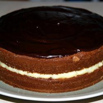 Glazed Chocolate Custard Cake