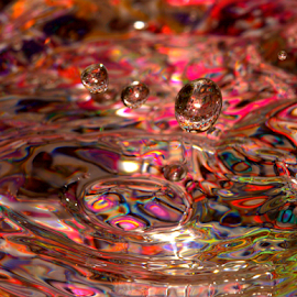 Vivid Spheres by Janet Lyle - Abstract Water Drops & Splashes ( water, splash, colors, droplets )