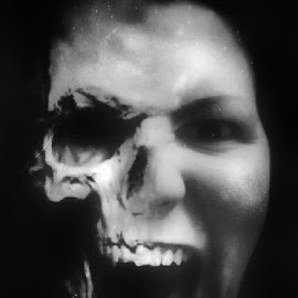 Everyone has a dark side. by Melinda Szente - Digital Art People ( skull, iphoneography, scream, woman, dark, self portrait, dark background, iphone, portrait,  )