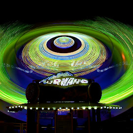 Green Tornado by Roy Walter - Abstract Light Painting ( lights, parks, amusement parks, county fair, slow motion )