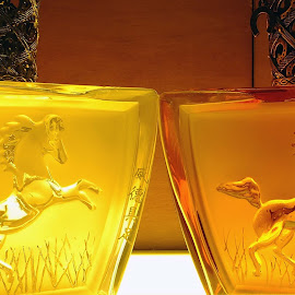Two Glass Horse Perfume Bottles by Alan Chew - Artistic Objects Glass